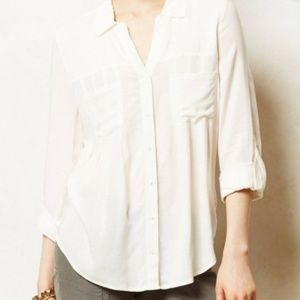 Anthropologie Maeve White Button Down Top